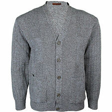 Mens Classic Buttons Vintage Plain Knitted Grandad Cardigan Jumper UK S- 3xl Medium Beige - Brightw- Button