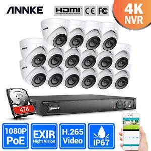 ANNKE 4K 8MP NVR POE 2MP Caméra Surveillance Sécurité 16CH Détection Mouvement