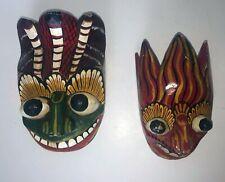 Vintage Handmade Sri Lankan Style Masks Lot of 2 Wood Carved Painted Tribal Mask