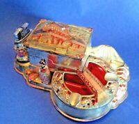 Cast Metal Ashtray & Lighter - Cigarette Music Box - Hand Painted Geisha - Japan