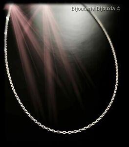 Chaîne De Cou Longue 70 cm Maille Forçat diamantée Argent Massif 925/000 Bijoux