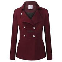 Women lapel Double Breasted Wool long Coat Warm Outerwear jacket M/L/XL/XXL/XXL