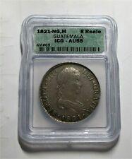 1821 NG, M silver 8 Reales Guatemala Ferdinand VII AU55 ICG