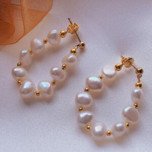 Natural Baroque white pearl wreath earrings Holiday gifts 18KGB Jewelry Fashion