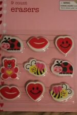 9 Heart Lips Bumble Bees Lady Bugs Bear Erasers Valentine's Day Home School