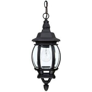 Capital Lighting French Country 1 Lamp Hanging Outdoor Lantern, Black - 9868BK