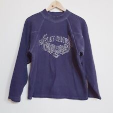 Harley Davidson XS Blue Embroidered Mock Neck Pullover Sweater