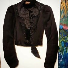 Edwardian Accordion Satin Bodice w/ Silk Accents & Beading (Xxs/Xs)