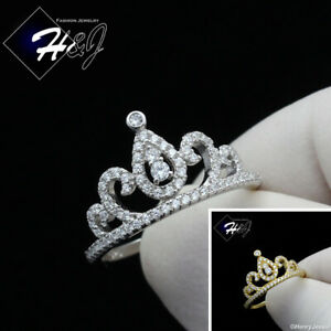 WOMEN 925 STERLING SILVER GOLD/SILVER BLING CROWN SHAPE ENGAGEMENT RING*SR124