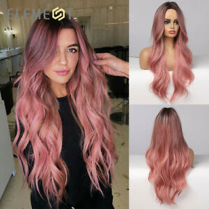 Element Long Wave Pink Synthetic Wigs for Women Costume Party Cosplay Hair Wig
