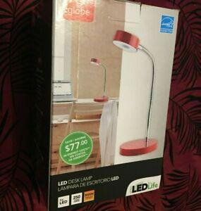 Globe LEDforLIFE Energy Star LED Desk Lamp RED w Power Adaptor NEW