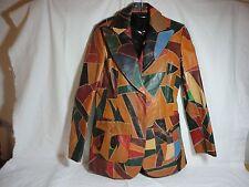 The Tannery Vintage Mosaic Leather Blazer Jacket Coat Multi Color 11-12   EUC