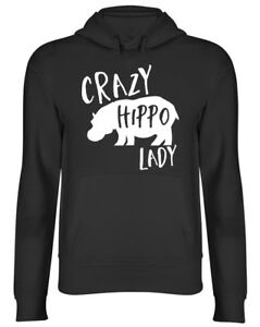 Crazy Hippo Lady Hooded Top Hippopotamus Womens Ladies Birthday Gift Hoodie