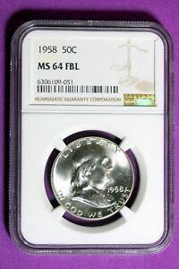1958 NGC MS64 FBL Franklin Half Dollar #B30114