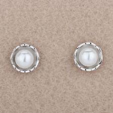 Women 925 Sterling Silver Round Pearl Flower Girl Elegant Ear Stud Earrings