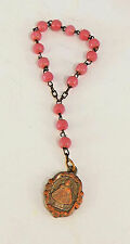 Antique Catholic Chaplet Rosary INFANT JESUS PRAGUE Pink glass beads collectible