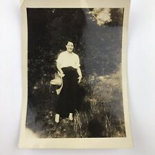 """Vintage 1929 Photo Woman in Pants Outdoors """"Catty Swift"""" Black and White"""