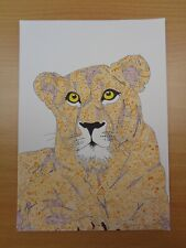 """""""Lioness"""" Original SIGNED Artwork by Lucas Austin, Abstract Animal Ink Drawing"""
