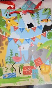 Large 33cm Gift Bag jungle theme animals Presents Childrens Kids