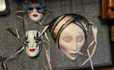 Clay Art Mask Faces Vintage Wall Deco Ceramic About Face + 2 other