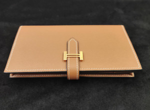 Hermes gold button lady's purse, camel, medium