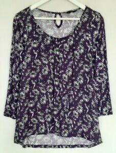 Ladies M&Co Purple Floral 3/4 Length Sleeved Stretch Jersey Top UK Size 12