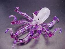 Glass OCTOPUS, SQUID, Purple Painted Ornament, Delicate Decorative Gift Animal