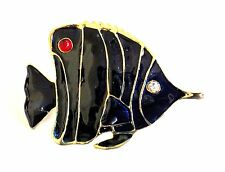 Fish Brooch Gold Plated Blue Enamel Crystal Pin Mothers Day Gifts
