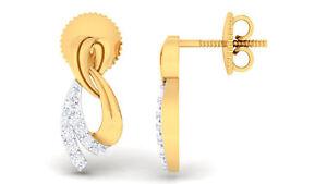 Pave 0,28 Cts Runde Brilliant Cut Natürlich Diamanten Ohrstecker In 585 14K Gold
