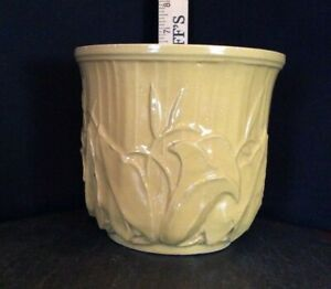 McCoy Vintage Jardiniere Planter Pot Yellow Embossed Calla Lily Made in USA