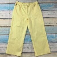 Denim & Co Womens Pants 14 new Yellow Lightweight Cotton Stretch Capris Cropped