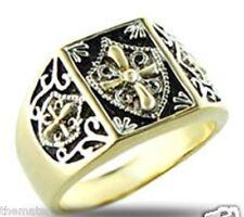 Mens Gold Black Tutone Jet Cross Mystic Style Ring Size 8,9,10,11,12,13
