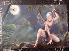 Cris Ortega impresión Pinup Vintage 2008 Fantasía Arte Erótico Desnudo Femenino Elfo de Bosque