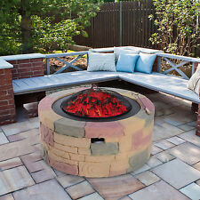 "Outsunny 35"" Fire Pit Wood Coal Burner Patio Fireplace Cement Fiberglass Heater"