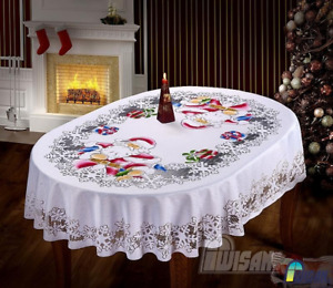 Christmas Santa Clause New White Tablecloth  Xmas Table Cover  Dining Room