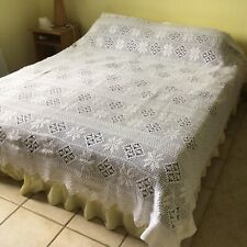 More details for vintage french hand-crocheted bedspread