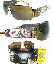 ed HARDY SONNENBRILLE EHS014 KING of BEASTS STRASS SHIRT PLEIN CHROME HERZ ETUI