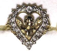Vintage 10K Yellow Gold Cherub within Heart Frame Ring, Size 5.75