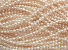 CREAM Czech glass round pearl beads - string of 75 beads - 6mm