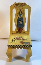 Vintage Wood Doll Chair - Gardening Angels - Welcome, Hand-painted Mills River