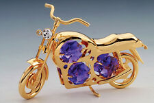 "SWAROVSKI CRYSTAL ELEMENTS ""Motorcycle"" FIGURINE  24KT GOLD PLATED"