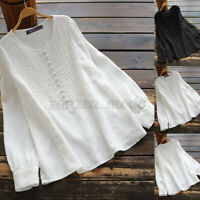 Womens Summer Long Sleeve Casual Loose Shirt Baggy Cotton Solid Top Tunic Blouse