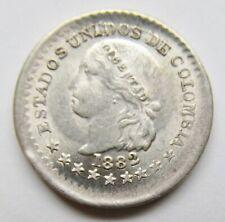 Columbia 1882 Silver 5 Centavos