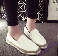 Slip On Ladies Shoes Pu Leather Casual Low Top Pumps New Fashion White  UK Size