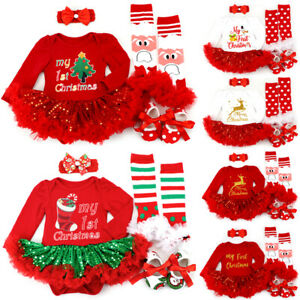 Toddler Baby Girls My 1st First Christmas Lace Dress 4Pcs Outfits Set Xmas Gifts