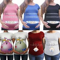 Women Maternity MAM Funny Loose Print Short Sleeve Casual T-shirt Pregnant Top E