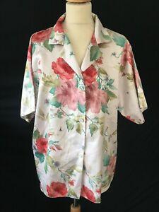 Vintage floral blouse 80s retro revival 40s style M