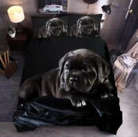 3D Little Black Dog ZHUA007 Bed Pillowcases Quilt Duvet Cover Set Queen King Zoe