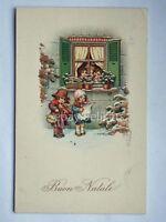 BUON NATALE Bertiglia bambini violinista vecchia cartolina