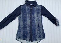 Parlsey & Sage Blue Anthropologie Button Front Up Top Shirt Tunic Small